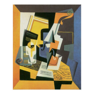 Violín y vidrio de Juan Gris, cubismo del vintage Poster