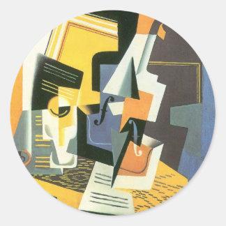 Violín y vidrio de Juan Gris, cubismo del vintage Pegatina Redonda