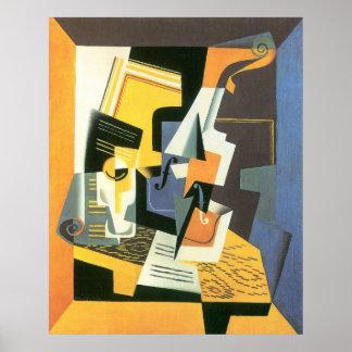 Violín y vidrio de Juan Gris, cubismo del vintage Póster