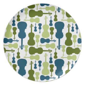 Violines - azules y modelo verde platos