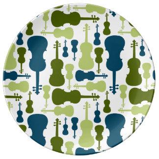 Violines - azules y modelo verde plato de cerámica