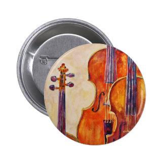 Violines de la acuarela pin redondo de 2 pulgadas