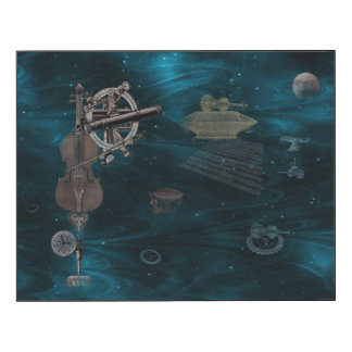 Violines que vuelan identificados impresión en madera