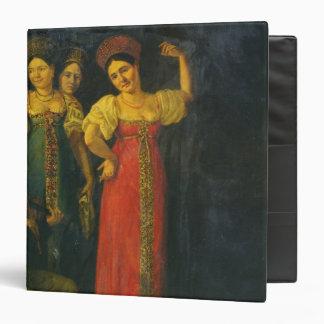 Violinist and three women dancing binder