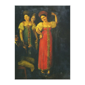 Violinist and three women dancing canvas print