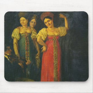 Violinist and three women dancing mouse pad