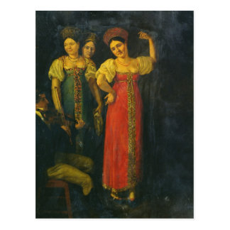 Violinist and three women dancing postcard