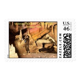 Violinist ENDLESS CAVERNS VA Vintage 1928 stamp