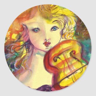 VIOLINIST GIRL ,VIOLIN  AND CAT CLASSIC ROUND STICKER