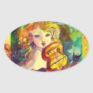 VIOLINIST GIRL ,VIOLIN  AND CAT OVAL STICKER