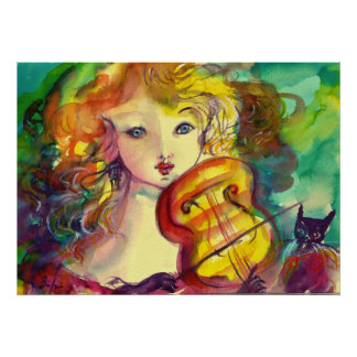 VIOLINIST GIRL ,VIOLIN  AND CAT POSTER