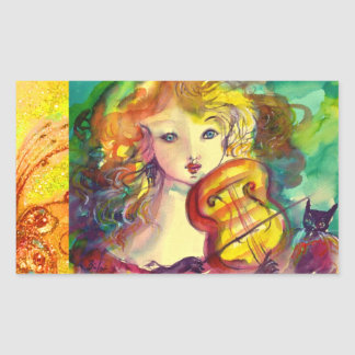 VIOLINIST GIRL ,VIOLIN  AND CAT RECTANGULAR STICKER