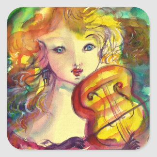 VIOLINIST GIRL ,VIOLIN  AND CAT SQUARE STICKER