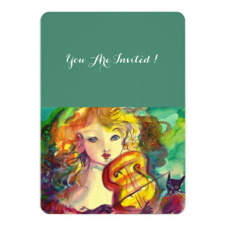 VIOLINIST GIRL ,VIOLIN  AND CAT Sweet 16 Birthday Card