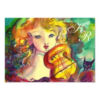 VIOLINIST GIRL ,VIOLIN  AND CAT Sweet !6 Monogram Card