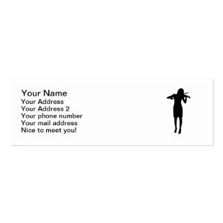 Violinist girl woman mini business card