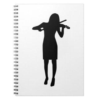 Violinist girl woman spiral notebooks