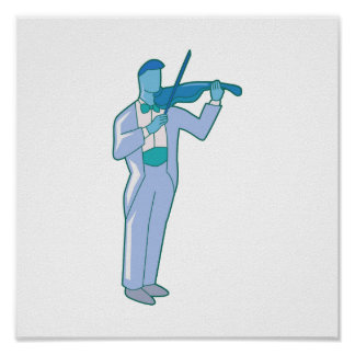 Violinist Male Figure Abstract blue.png Poster