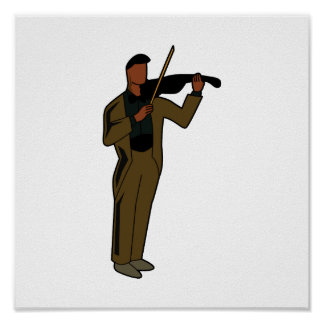 Violinist Male Figure Abstract brown.png Poster