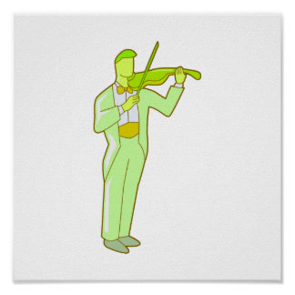 Violinist Male Figure Abstract green.png Poster