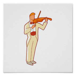 Violinist Male Figure Abstract.png Poster