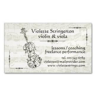 Violinist or Violist Line Drawing Bach Backdrop Business Card Magnet