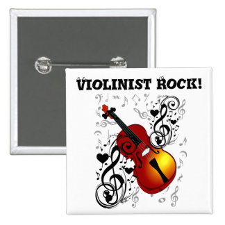 Violinist,Rock the House_ 2 Inch Square Button