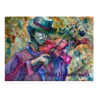 violinista con el sombrero de copa tarjetas postales