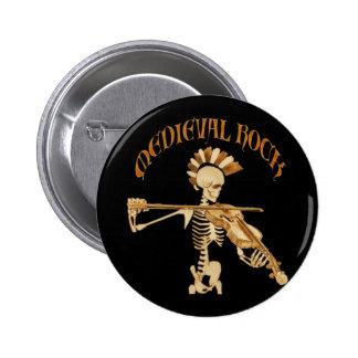 Violinista, de hueso, Skeleton Fiddler/- Medieval  Pin Redondo 5 Cm