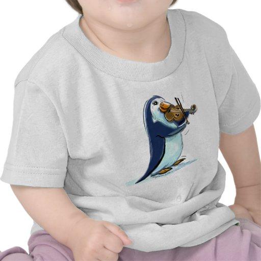 Violinista del pingüino camisetas