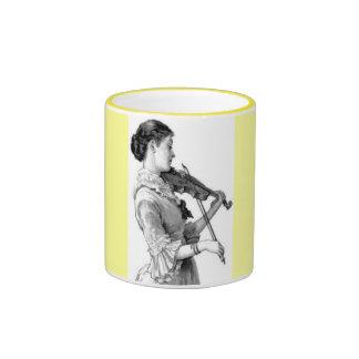 Violinista del vintage tazas de café