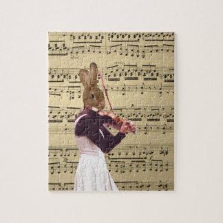 Violinista divertido del conejo de conejito rompecabeza