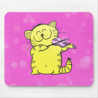 Violinista lindo del gatito alfombrilla de raton
