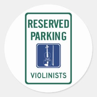 Violinists Parking Round Stickers
