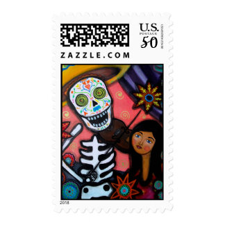 Violinman Day of the Dead Postage