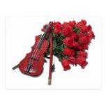 ViolinOnBouquetRoses012511 Tarjetas Postales