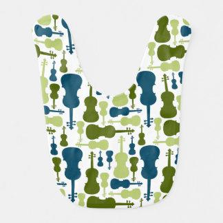 Violins - Blue and Green Pattern Baby Bib