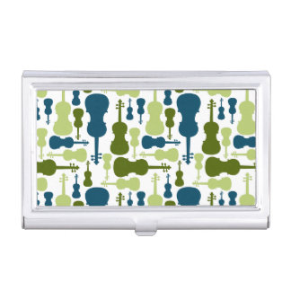 Violins - Blue and Green Pattern Business Card Case