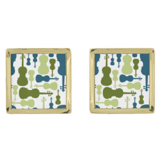 Violins - Blue and Green Pattern Gold Cufflinks