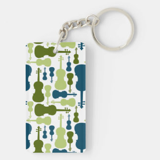 Violins - Blue and Green Pattern Keychain