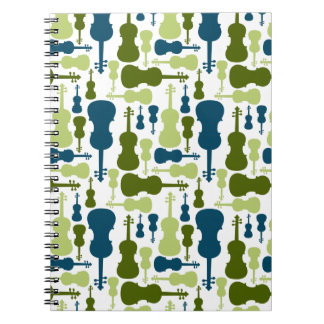 Violins - Blue and Green Pattern Spiral Notebooks