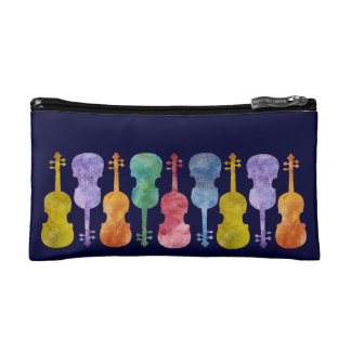 Violins in a Rainbow of Color Cosmetic Bags