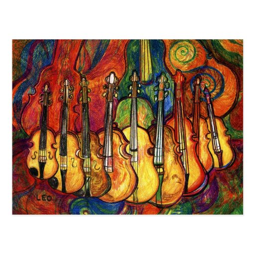 Colorful Violins Postcard
