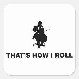 Violoncelista Pegatina Cuadrada