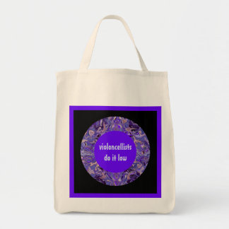 violoncellists do it low grocery tote bag