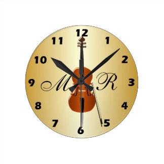 Violoncelo con monograma relojes de pared
