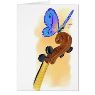 Violoncelo de la mariposa tarjeta de felicitación