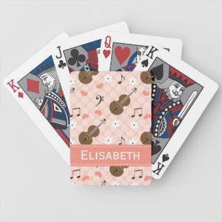 Violoncelo rosado barajas de cartas
