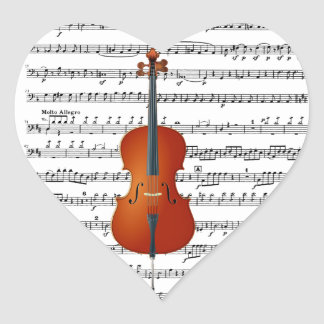 Violoncelo y Me_ Pegatina En Forma De Corazón