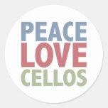 Violoncelos del amor de la paz etiquetas redondas
